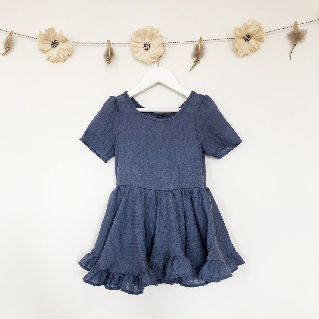 blue gauze ruffle dress