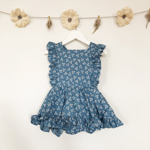 chambray daisy pinafore