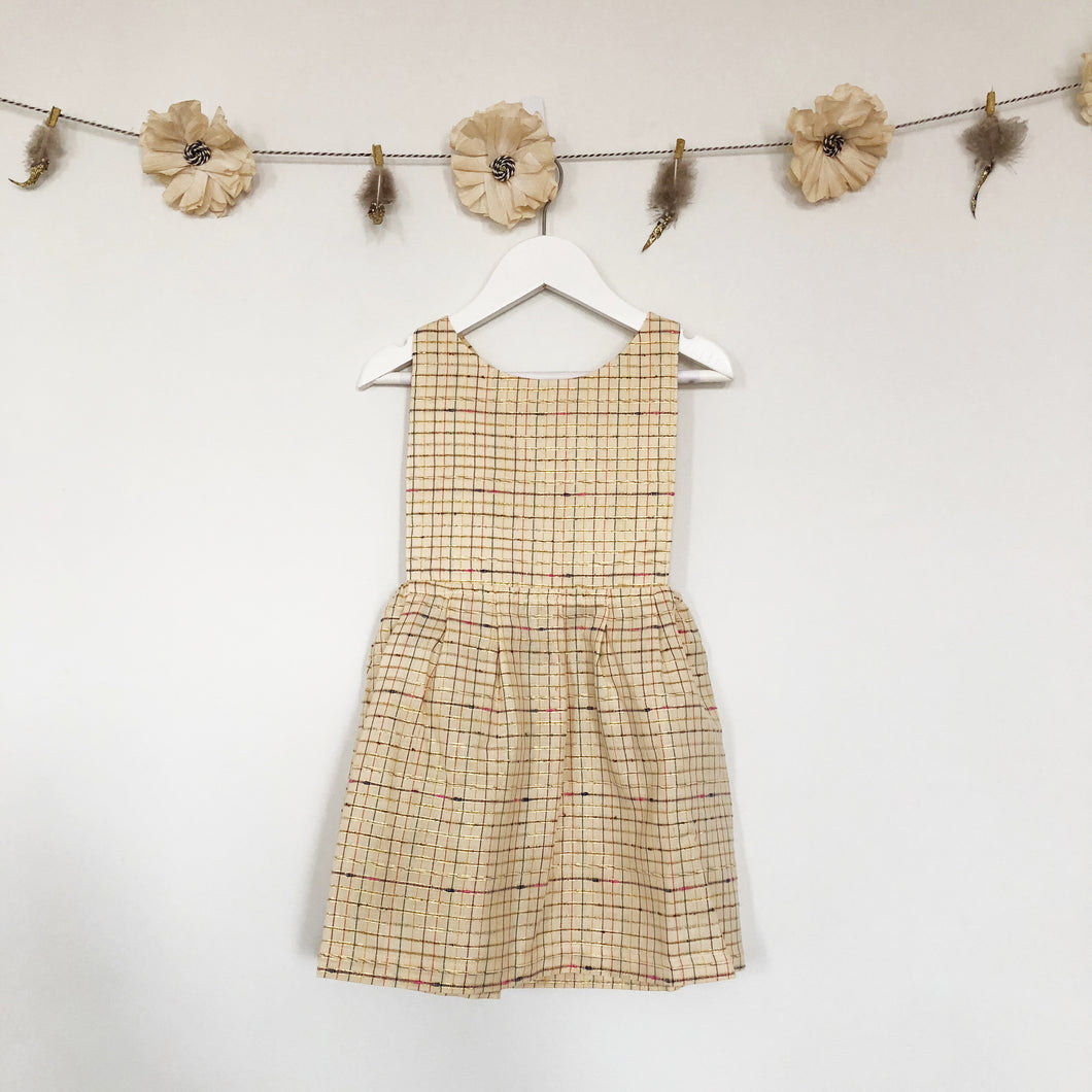 metallic plaid apron dress