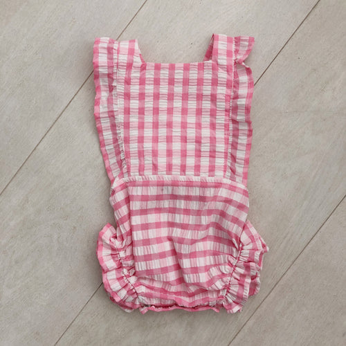 vintage pink gingham sunsuit 6/12