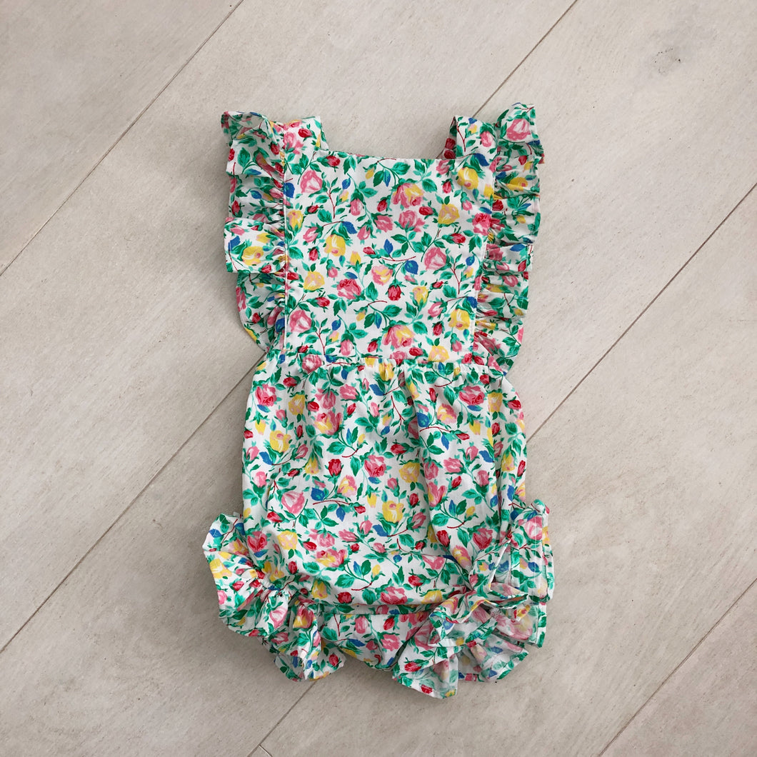 vintage rainbow flower sunsuit 6/12