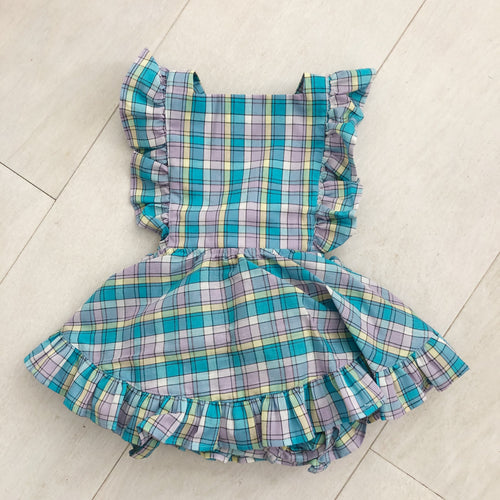 vintage blue plaid pinafore 6/12