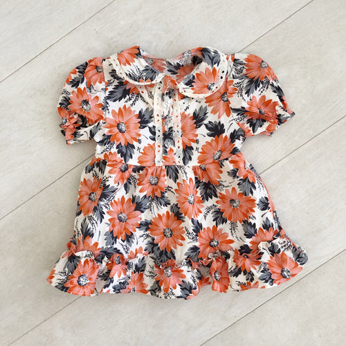 vintage orange flower ella dress 6/12