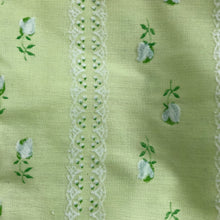 vintage pale green flocked tulip pinafore 12/18