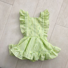 vintage green flocked tulip pinafore 18/24