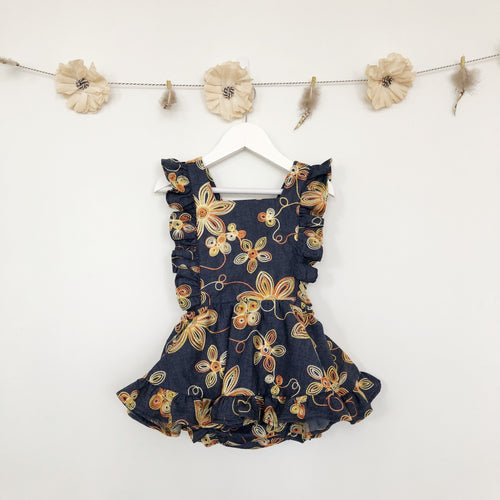 embroidered chambray pinafore