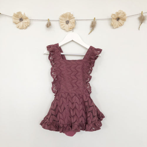 plum lace pinafore