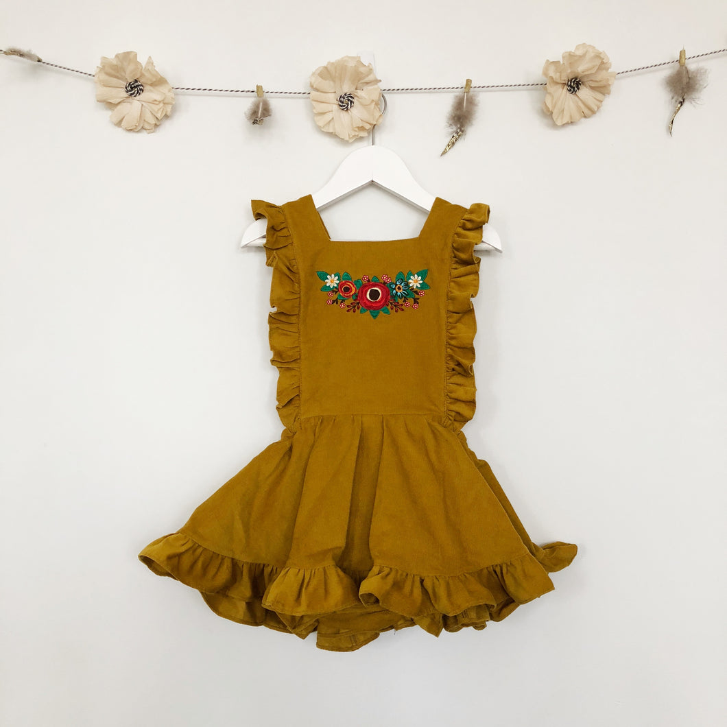 embroidered mustard corduroy pinafore