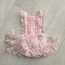 vintage flocked pink princess pinafore 2t