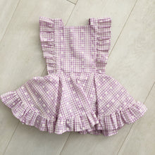 vintage flocked lavender gingham pinafore 2t