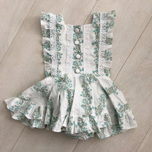 vintage flocked green floral pinafore 2t