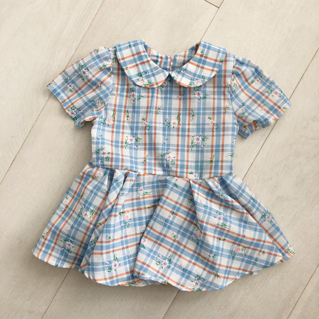 vintage flocked peter pan plaid dress 2t