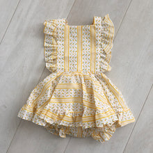 vintage yellow floral stripe pinafore 2t
