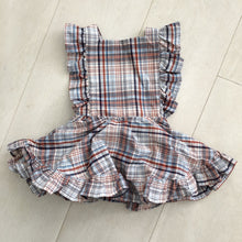 vintage navy plaid pinafore 2t