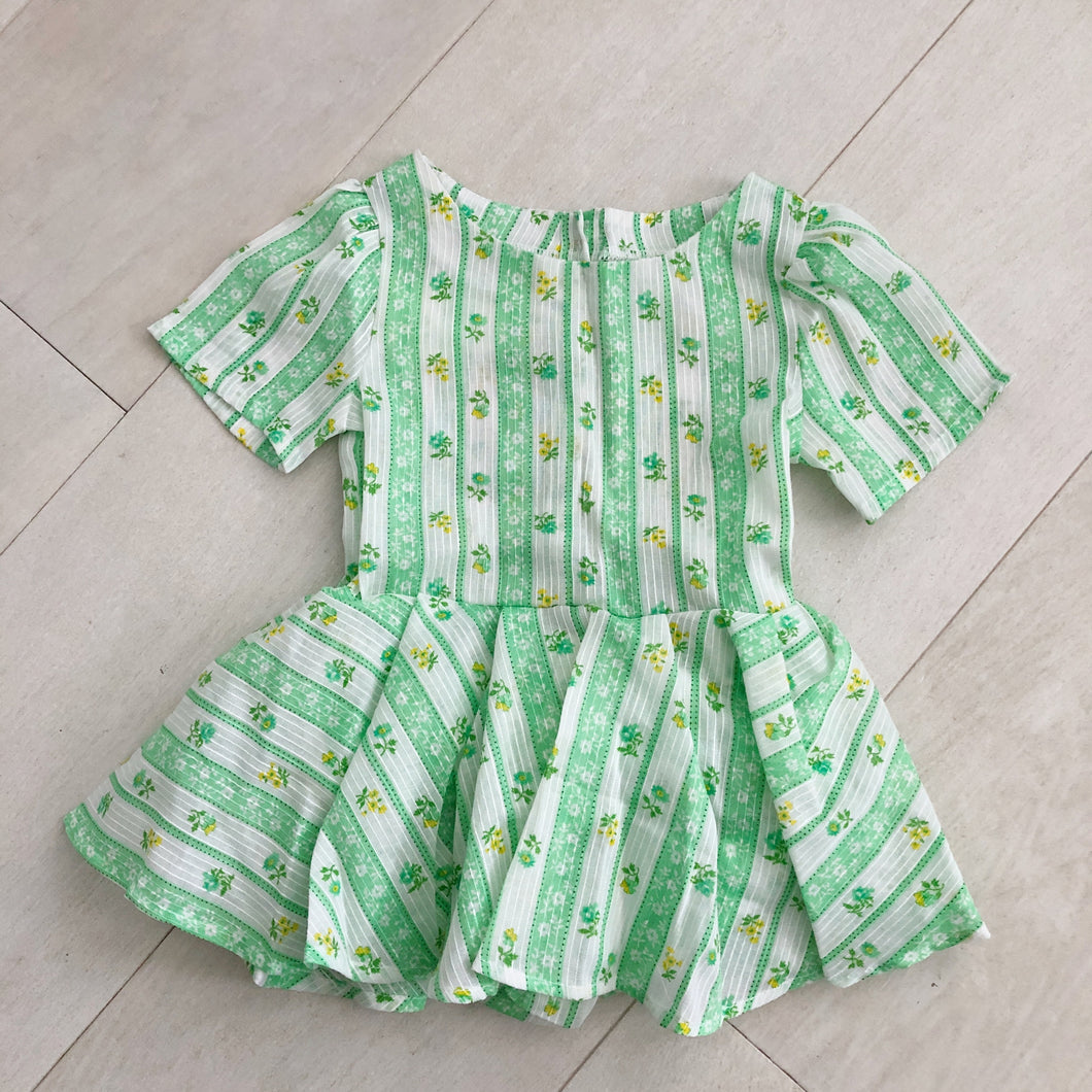 vintage green striped floral dress 2t