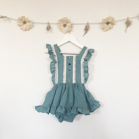 limited edition dusty blue pinafore
