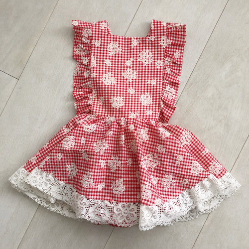 vintage red gingham pinafore 3t