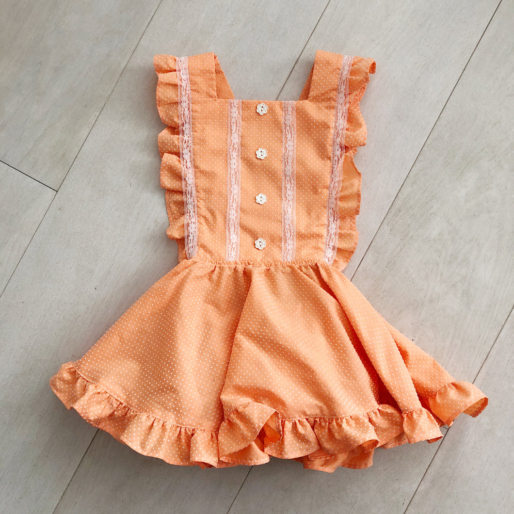 vintage orange swiss dot pinafore 3t