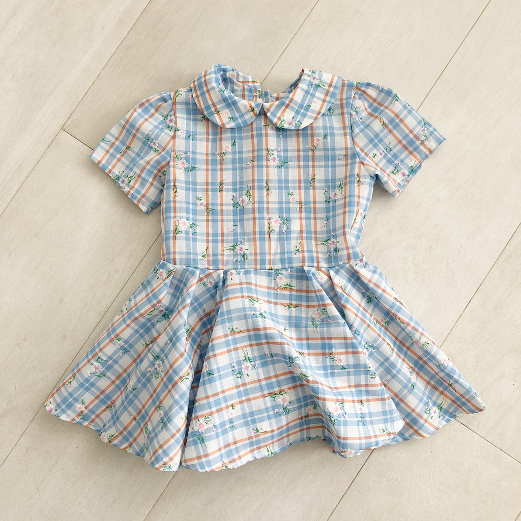 vintage flocked plaid peter pan dress 3t