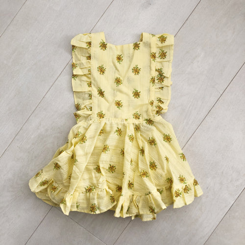 vintage yellow dimity pinafore 3t