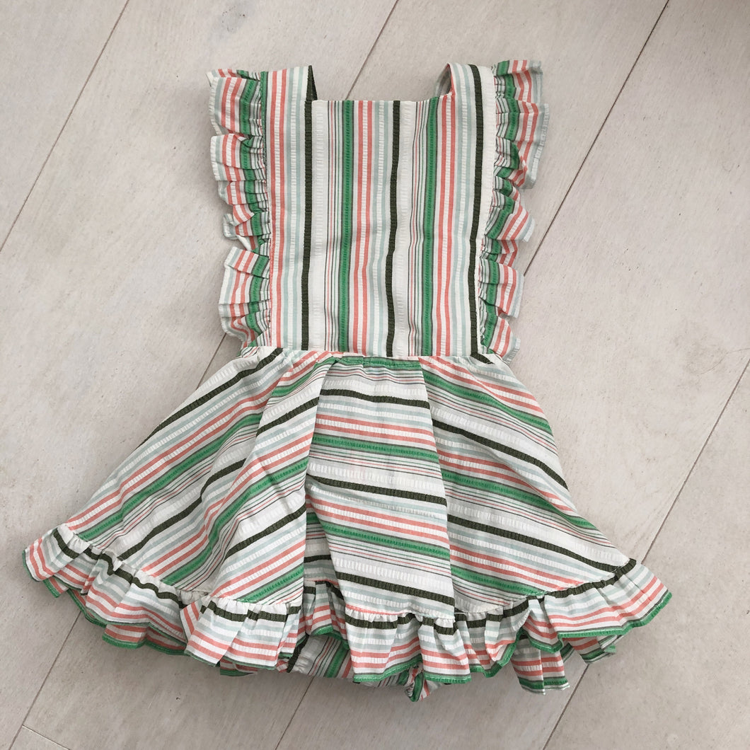 vintage green stripe pinafore 3t