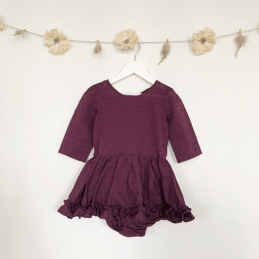 plum swiss dot 3/4 sleeve dress