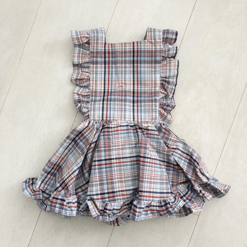 vintage navy plaid pinafore 3t