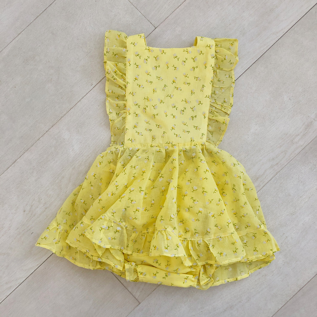vintage yellow flocked tulip pinafore 3t