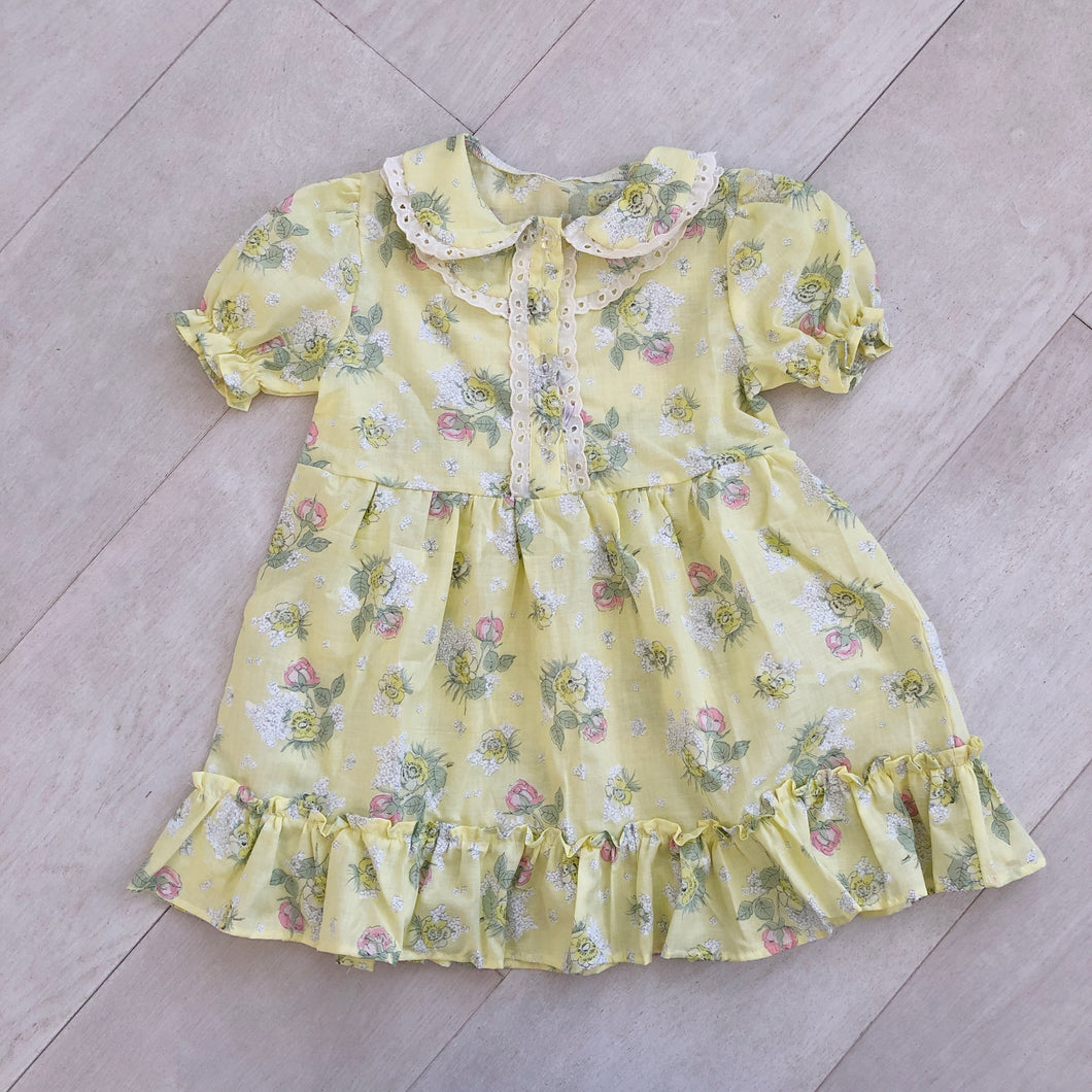 vintage yellow floral ella dress 4t
