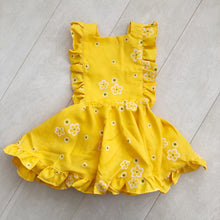 vintage yellow flocked floral pinafore 4t