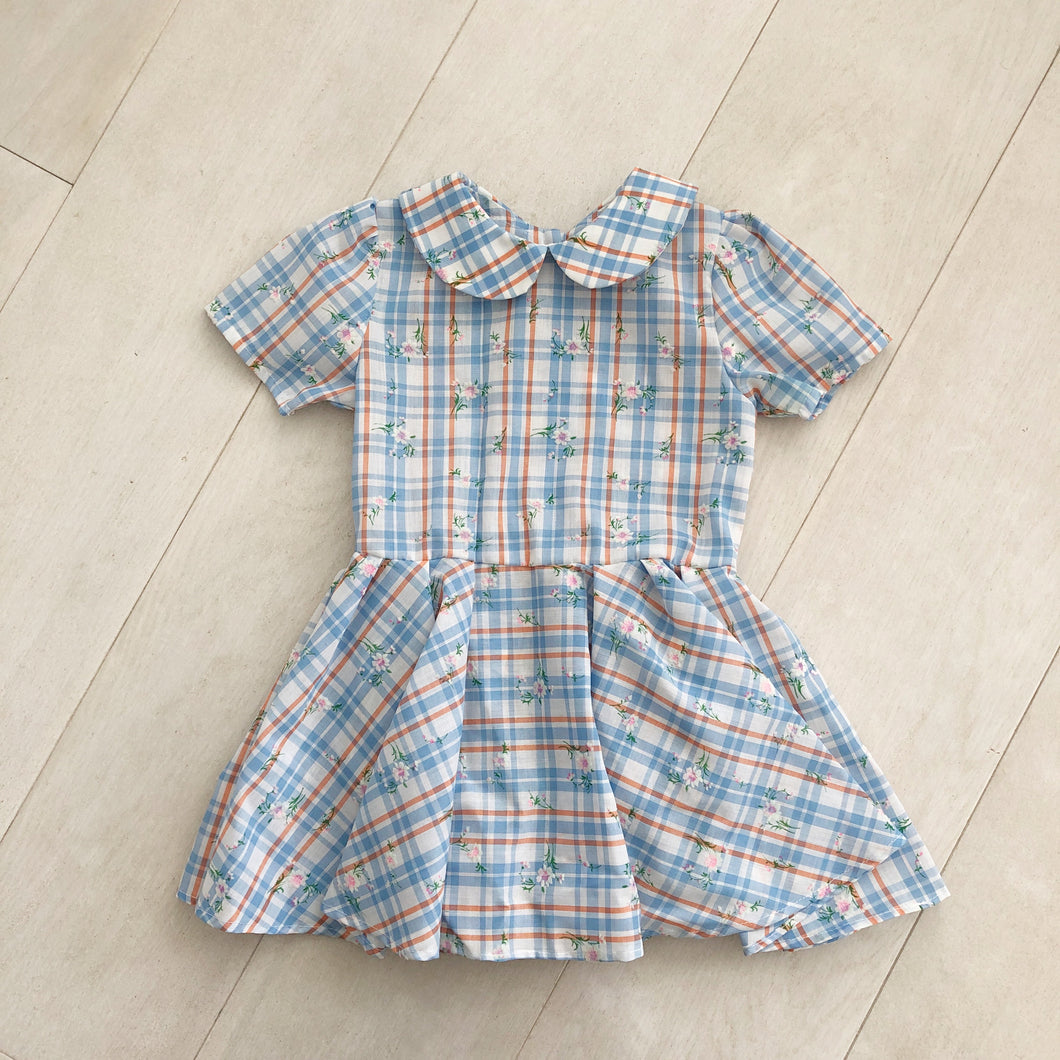 vintage flocked plaid peter pan dress 4t