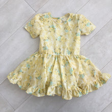 vintage yellow floral swiss dot dress 5t