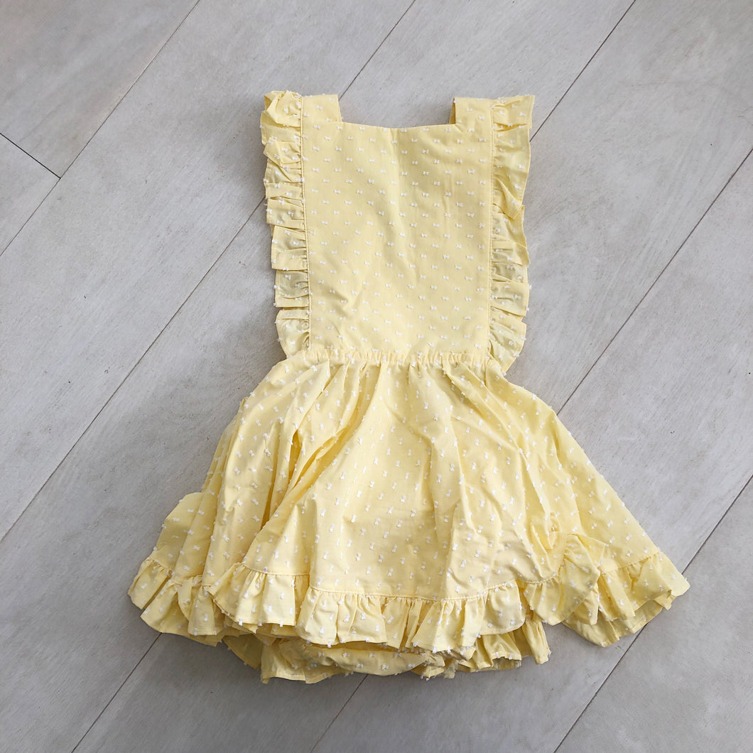 vintage yellow clip dot pinafore 5t