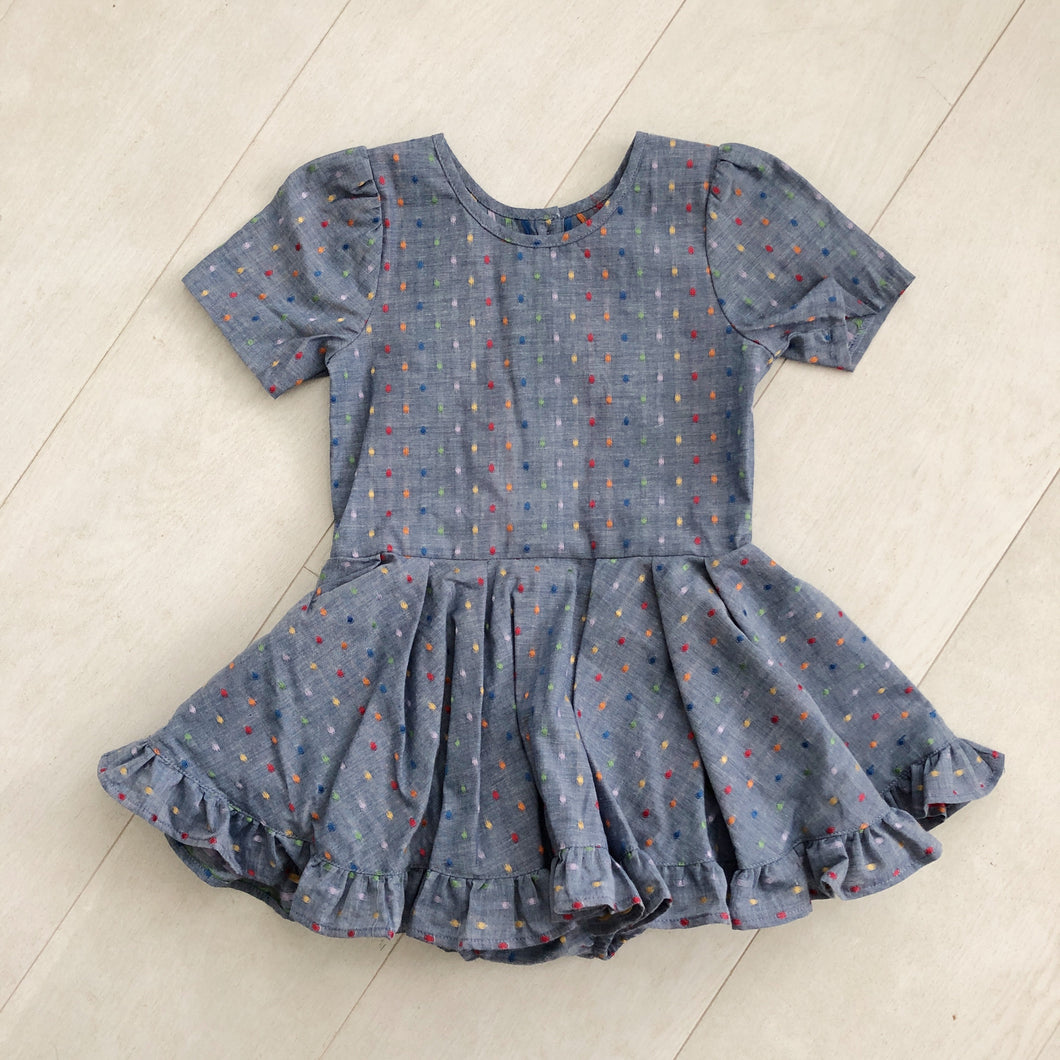 chambray rainbow dot short sleeve ruffle dress