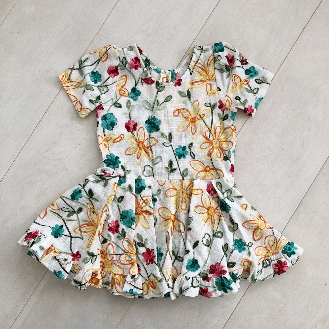 embroidered floral short sleeve ruffle dress