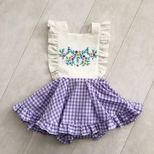 embroidered lilac gingham pinafore