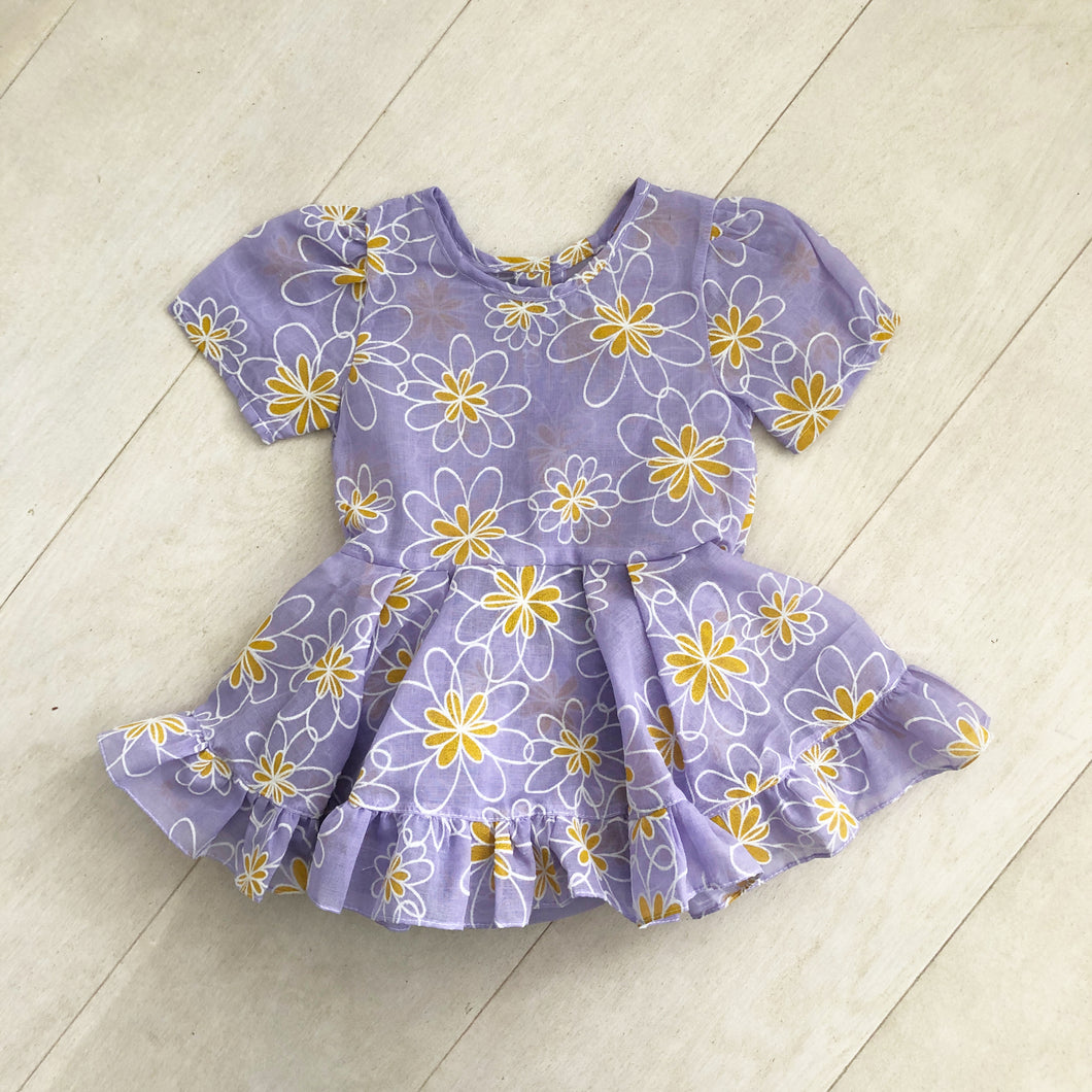 vintage flocked lavender daisy dress 3t