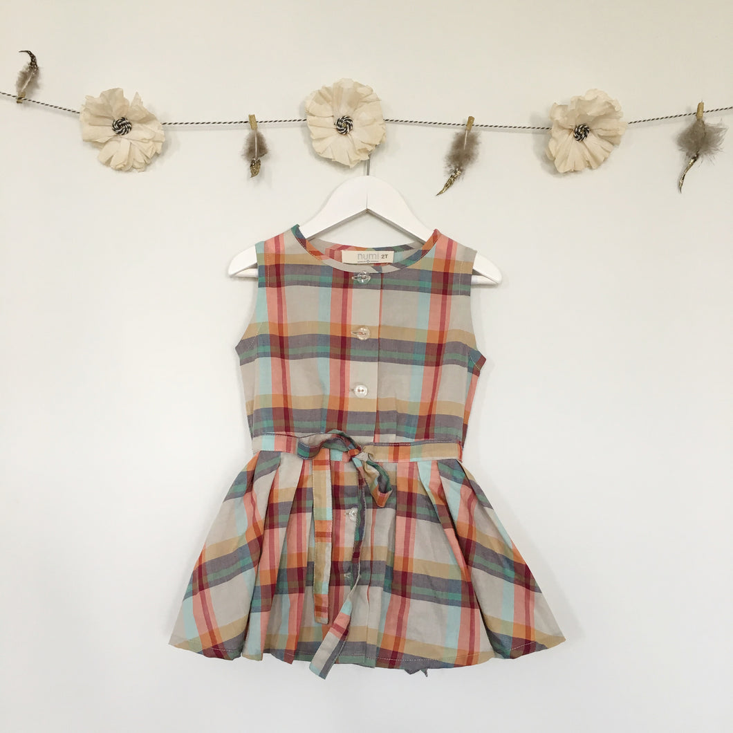 coral plaid shirt dress