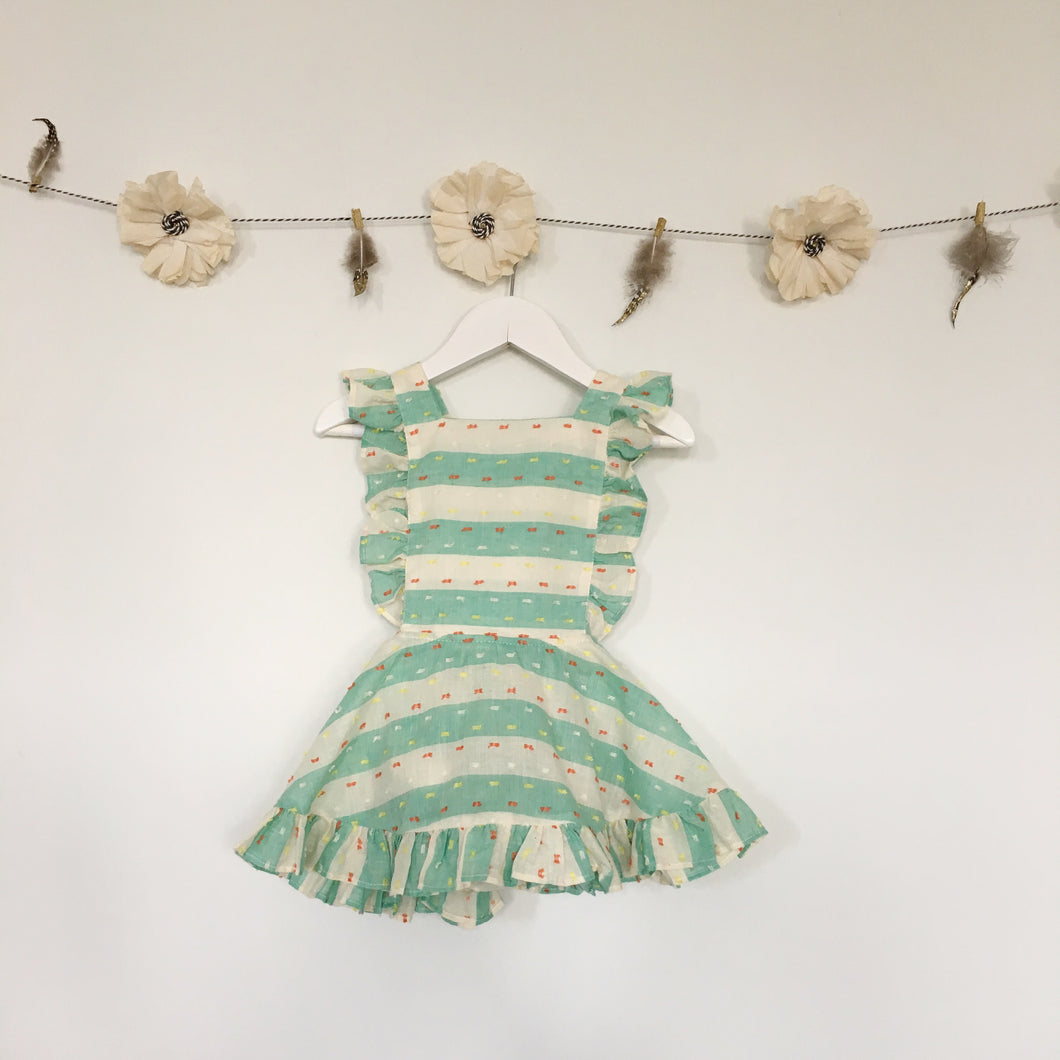 mint green swiss dot stripe pinafore
