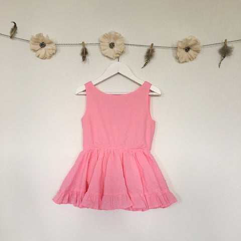 pink swiss dot tank dress