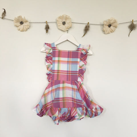 pink plaid pinafore