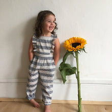 blue stripe swiss dot jumpsuit