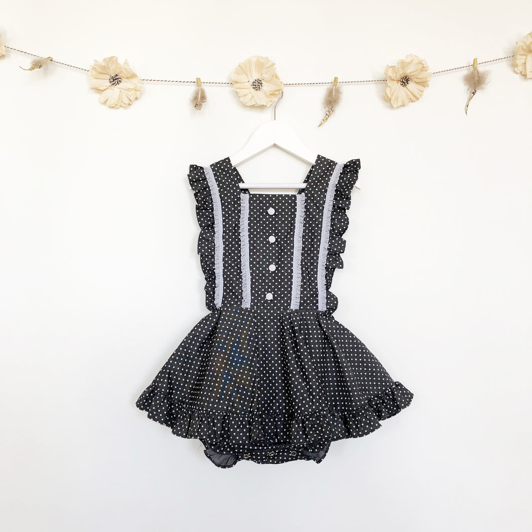 polka dot pinafore with lace and buttons