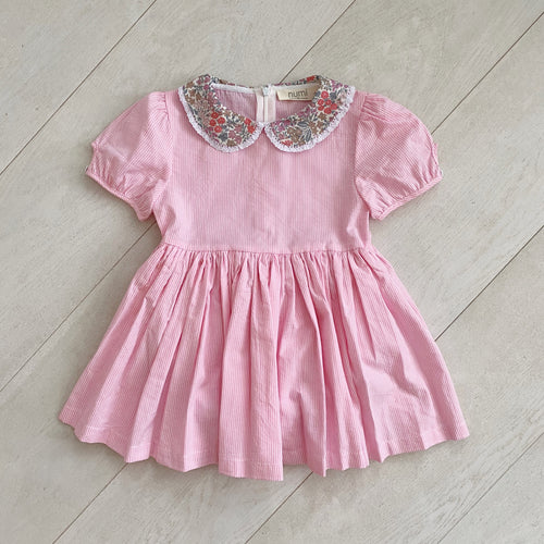 pink stripe peter pan dress