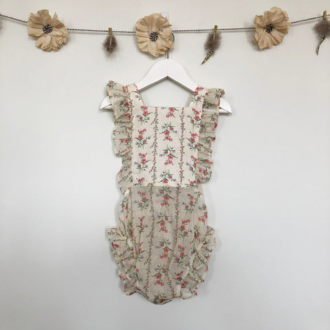 vintage sheer floral sunsuit - 2t