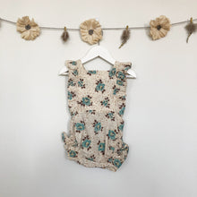 vintage flocked rose sunsuit - 2 x 12/18