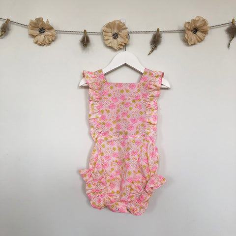 vintage pink floral swiss dot sunsuit - 2t