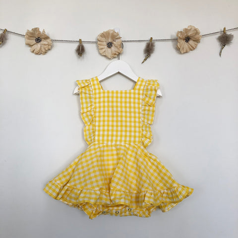 vintage yellow gingham pinafore - 2t, 3t