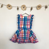 vintage summer plaid pinafore - 3t