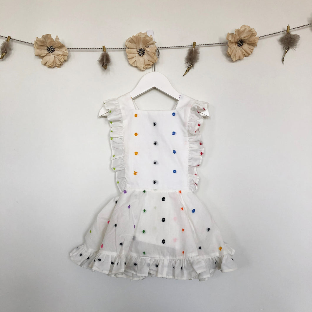 vintage rainbow swiss dot pinafore - 2t, 2 x 3t